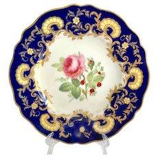 Antique W.T. Copeland, Spode Works, Cobalt Blue, Gold Overlay Rose Floral Center Dinner Plate 1850s