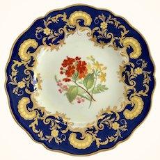 Antique W.T. Copeland, Spode Works, Cobalt Blue Gold Overlay Floral Center Dinner Plate 1850s