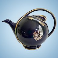 Hall Cobalt Blue Airflow Teapot Decorated with Gold Roses