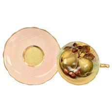 Hammersley Bone China Peach Colored Orchard Fruit Teacup and Saucer