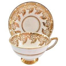Royal Stafford Bone China Detailed Gold Leaf Design 8410E Teacup and Saucer