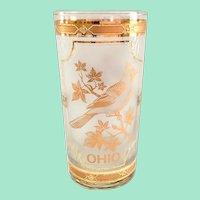 Culver Glass 22K Gold Mid-Century State of Ohio Cardinal on Buckeye Highball Tumbler