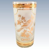 Culver Glass 22K Gold Mid-Century State of Ohio Cardinal on Buckeye Highball Tumbler