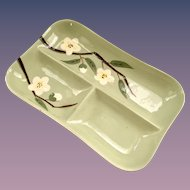 Weil Ware Blossom Celadon Green Three-Part Divided Relish Dish