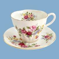 Royal Albert Rose Bouquet Bone China Teacup and Saucer Shelley Shape