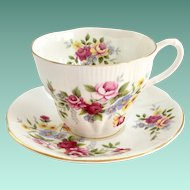 Royal Albert Shelley Shape Rose Bouquet Bone China Teacup and Saucer
