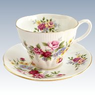 Royal Albert Shelley Shape Rose Bouquet Bone China Teacup and Saucer