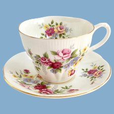 Royal Albert Rose Bouquet Bone China Teacup and Saucer Shelley Shape