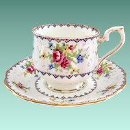 Royal Albert Petit Point Bone China Teacup and Saucer