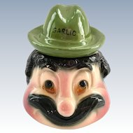 American Bisque Anthropomorphic Mustached Mr. Garlic Condiment Jar Green Fedora Cover