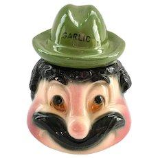 American Bisque Anthropomorphic Mustached Mr. Garlic Condiment Jar Green Fedora Cover