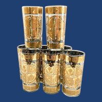 Culver Coronet 22K-Gold Mid Century Glass Highball Tumblers Set of 8