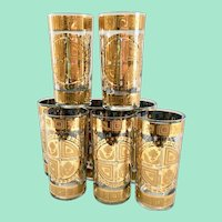Culver Coronet 22K Gold Mid Century Glass Highball Tumblers Set of 8