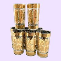 Culver Coronet 22K-Gold Mid Century Glass Highball Tumblers Set of 8