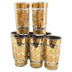 Culver Coronet 22K Gold Mid Century Glass Highball Tumblers Set of 8