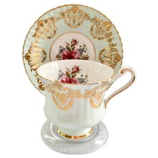 Paragon Aqua and Gold Ribbed GB1J Bone China Teacup and Saucer