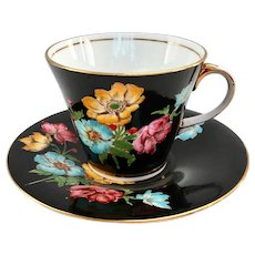 Aynsley B4824 Black Ground Floral Bone China Teacup and Saucer
