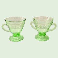 Cloverleaf Green  Depression Glass Sugar and Creamer Set by Hazel-Atlas