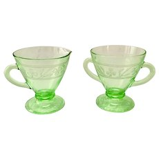 Cloverleaf Green  Depression Glass Sugar and Creamer Set by Hazel-Atlas