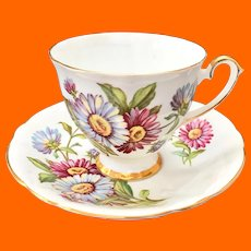 Blue and Purple African Daisies Teacup Society Bone China, England