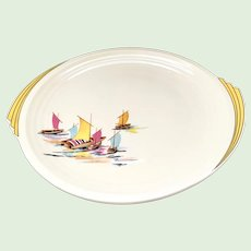 Vintage Edwin Knowles Yorktown Shape Chop Plate Pastel Sailboats circa 1937
