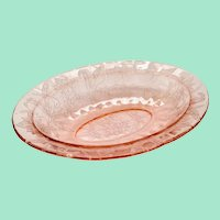 Jeannette Floral Poinsettia Pink Depression Glass Oval Serving Bowl