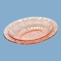 Jeannette Poinsettia Floral Pink Depression Glass Oval Serving Bowl