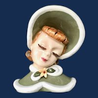 Lefton Ginger Head Vase/Wall Pocket Red Hair Barrel Curls Lady in Green Winter Cape