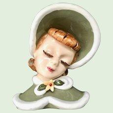 Lefton Ginger Head Vase/Wall Pocket Red Hair Barrel Curls Lady in Green Winter Cape