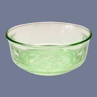 Hazel-Atlas Green Cloverleaf Depression Glass Small Fruit Bowls Set of Six