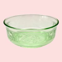 Hazel-Atlas Green Cloverleaf Depression Glass Small Fruit Bowls Set of Six