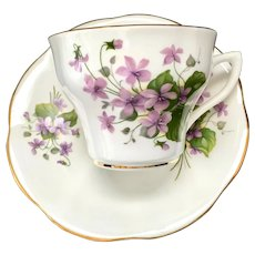 Rosina England Violets 413 Bone China Teacup and Saucer Circa 1950s