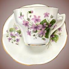 Rosina England Violets 413 Bone China Teacup and Saucer Circa 1950s