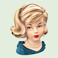 Parma Lady Head Vase in Blue Pearl Necklace and Earring A-173 by AAI