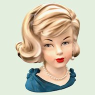Parma by AAI A-173 Head Vase Lady in Blue Pearl Necklace and Earring