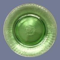 Hazel Atlas Fruits Green Depression Glass Luncheon Plates Set of Four