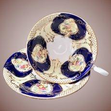 Samuel Radford's Regent 4864 Cobalt English Bone China Teacup and Saucer circa 1930s