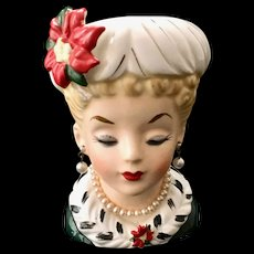 Inarco E195 Christmas Lady Head Vase Pearl Necklace and Earrings Poinsettia Trim