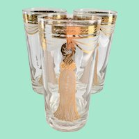 Fred Press 22K Gold Curtain Tassel Rope Design Mid Century Highball Tumblers Set of Three