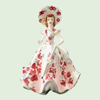 Lefton Lady with Umbrella Pink Flowered Gown #500A Planter