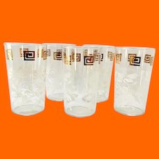 Anchor Hocking White Hibiscus Leaves and Gold Grecian Key Border Tumblers - Set of Five