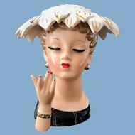 Napco C1840 Lady Head Vase Fringed Hat with Bracelet on Hand circa 1956