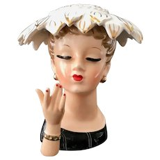 Napco C1840 Lady Head Vase Fringed Hat with Bracelet on Hand circa 1956