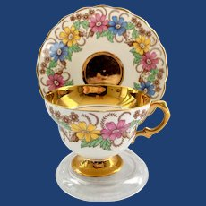 Rosina Heavy Gold Colorful Flowers #5430/R Bone China Teacup and Saucer