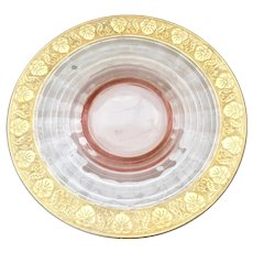 Elegant Pink Depression Era Glass Serving Plate with Heavily Gold-Encrusted Etched Pansy Rim