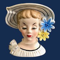 Relpo K860 Lady Head Vase in Wide Brim Flowered Hat Pearl Necklace