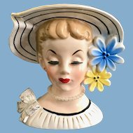 Relpo K860 Lady Head Vase in Wide Brim Flowered Hat Pearl Necklace