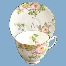 Adderley, England, Enameled Pink Blossoms Bone China Teacup and Saucer