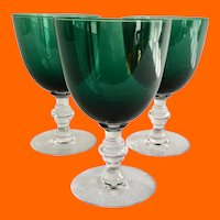 Tiffin Killarney Green Blown Glass Water Goblets Stem #17394 circa 1950s- Set of Three