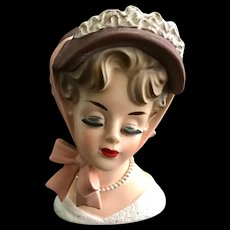 Lady Head Vase in Ribbon Tied Hat Attached Eyelashes Unmarked Brinns